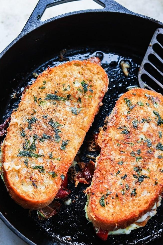 sandwiches golden brown in cast iron skillet