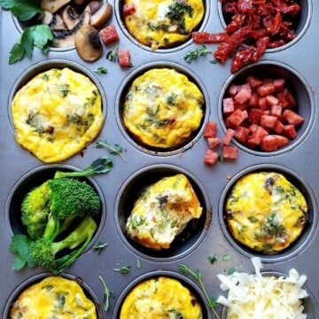 Mini frittatas baked and served from muffin tin.