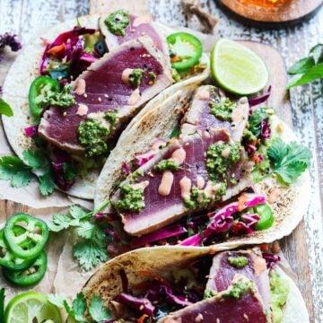 Perfectly seared ahi tuna in slightly charred tortillas.