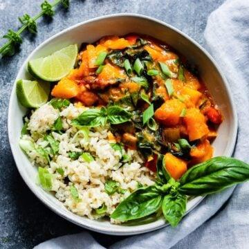 Thai squash and pumpkin curry.