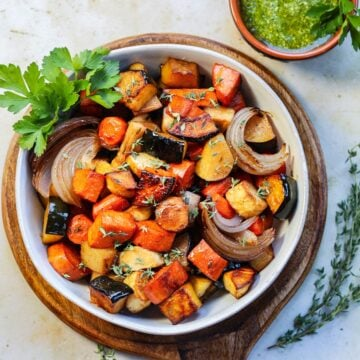 Baked root vegetables coated in balsamic maple glaze.
